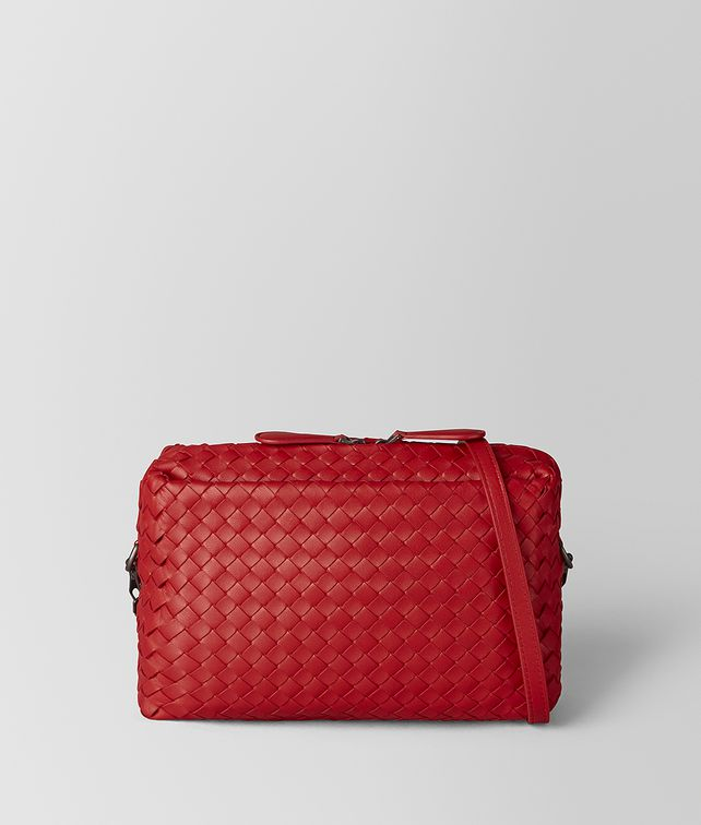 BOTTEGA VENETA CHINA RED INTRECCIATO NAPPA SHOULDER BAG Crossbody and Belt Bags [*** pickupInStoreShipping_info ***] fp