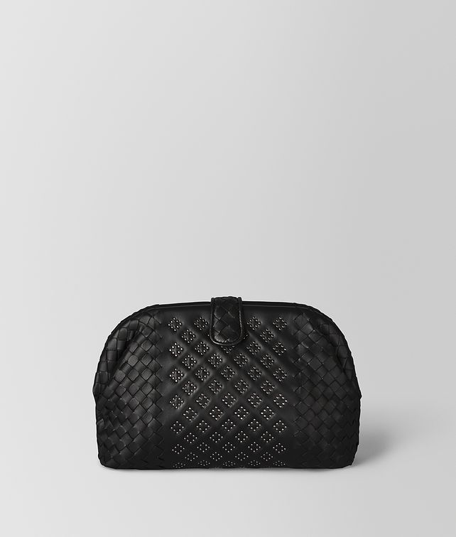 BOTTEGA VENETA POCHETTE THE LAUREN 1980 MICRO BORCHIE IN NAPPA NERO Pochette Donna fp