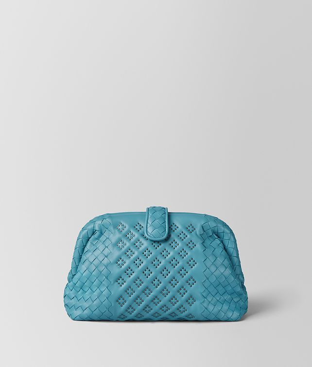BOTTEGA VENETA AQUA NAPPA MICROSTUDS THE LAUREN 1980 Clutch Woman fp