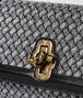 BOTTEGA VENETA ANTIQUE SILVER INTRECCIATO KNITTED OLIMPIA KNOT Shoulder Bag Woman ep