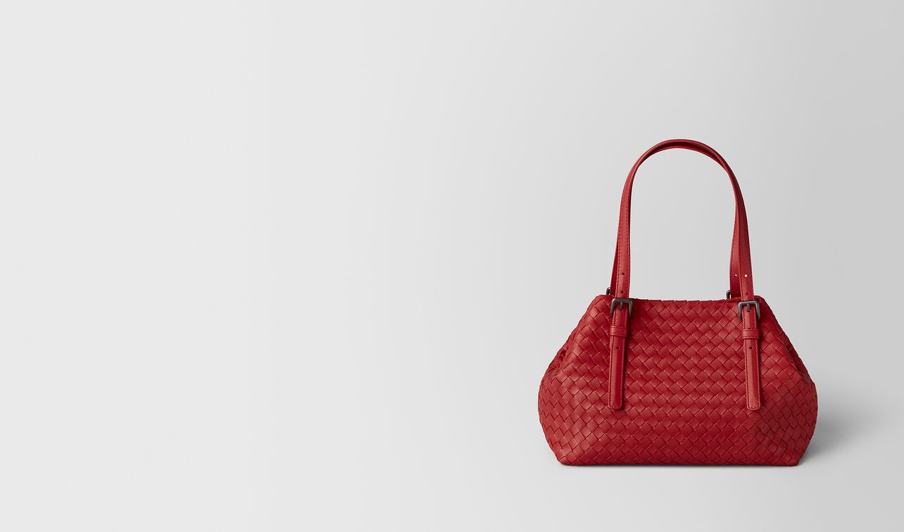 sac fourre-tout en cuir nappa intrecciato china red landing