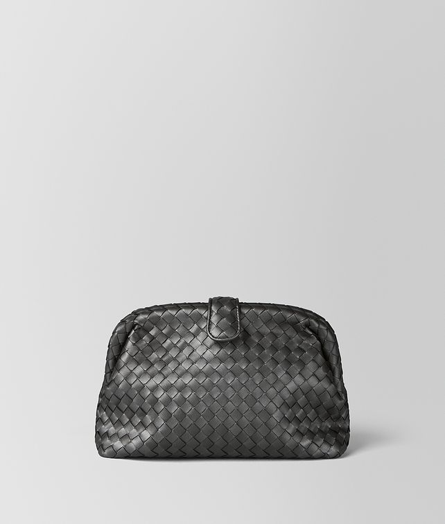 BOTTEGA VENETA ANTIQUE SILVER INTRECCIATO NAPPA THE LAUREN 1980 Clutch [*** pickupInStoreShipping_info ***] fp