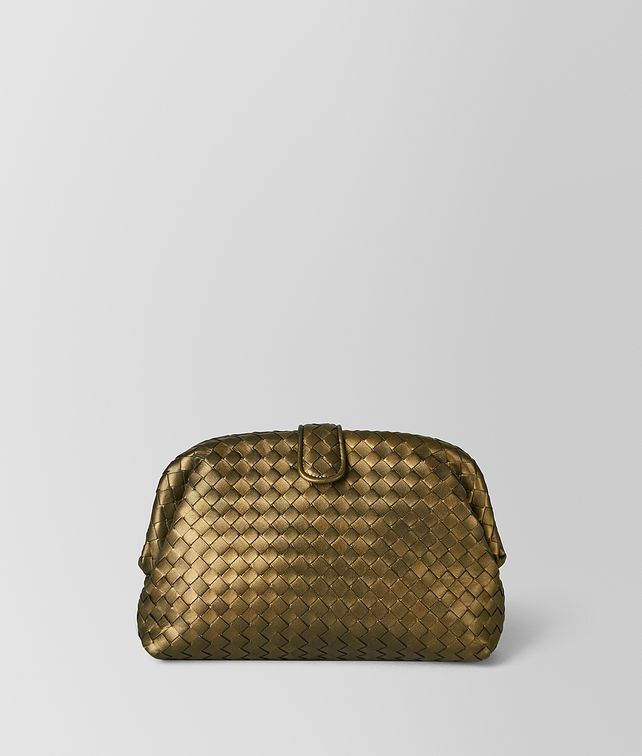 BOTTEGA VENETA DARK GOLD INTRECCIATO NAPPA THE LAUREN 1980 Clutch Woman fp