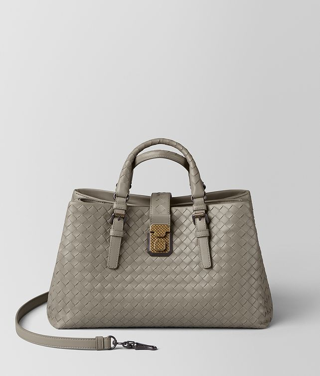 BOTTEGA VENETA DARK CEMENT INTRECCIATO CALF ROMA BAG Top Handle Bag Woman fp