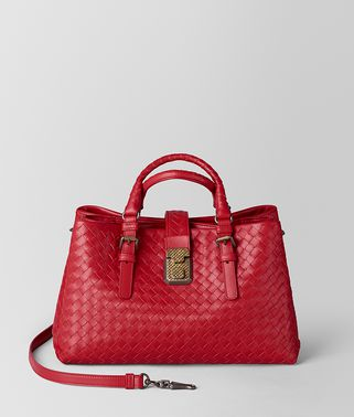 CHINA RED INTRECCIATO CALF ROMA BAG