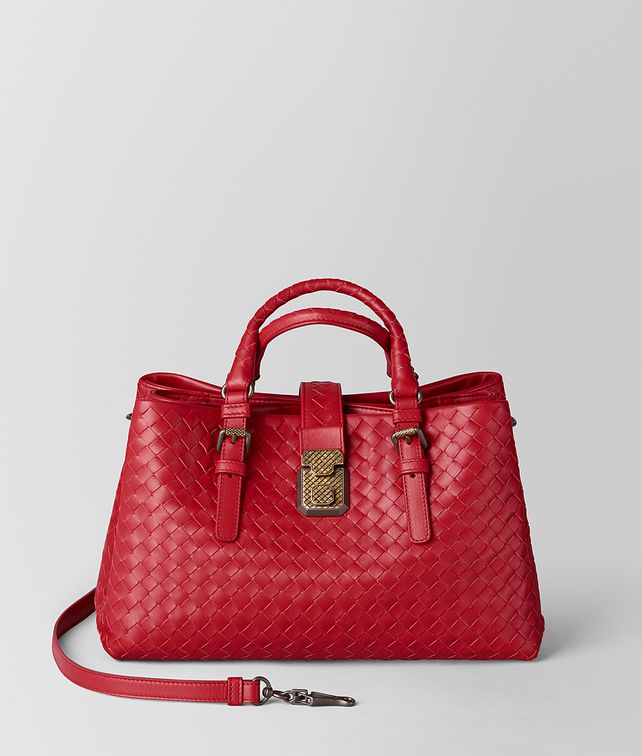 BOTTEGA VENETA CHINA RED INTRECCIATO CALF ROMA BAG Top Handle Bag Woman fp