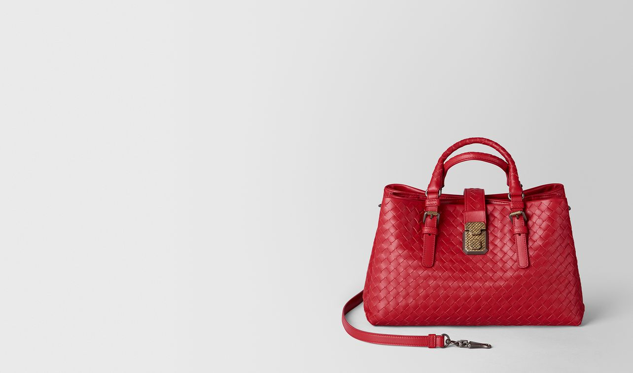 china red intrecciato calf roma bag landing