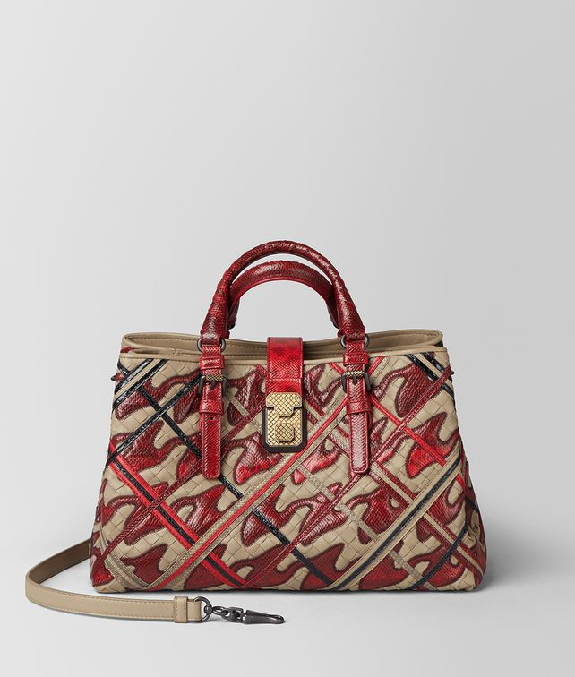 BOTTEGA VENETA CHINA RED INTRECCIATO PIED DE POULE ROMA BAG Top Handle Bag [*** pickupInStoreShipping_info ***] fp