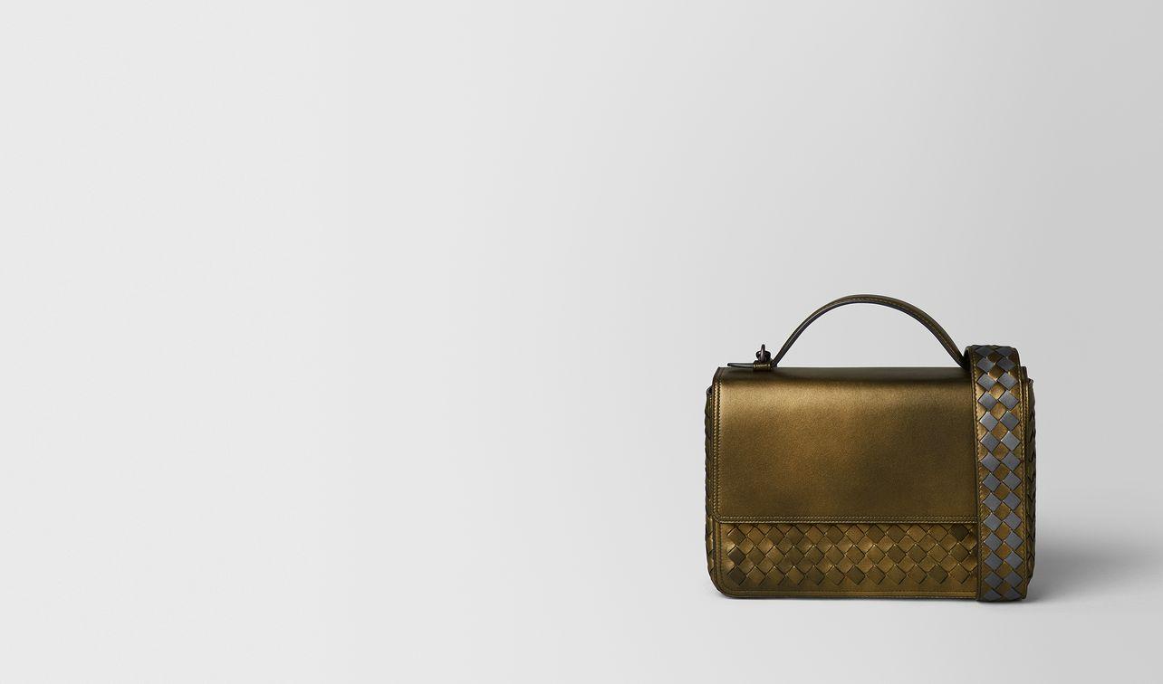 dark gold intrecciato nappa alumna bag landing