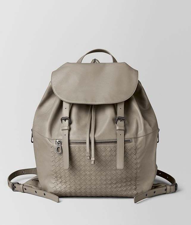 BOTTEGA VENETA DARK CEMENT INTRECCIATO CALF BACKPACK Backpack Man fp
