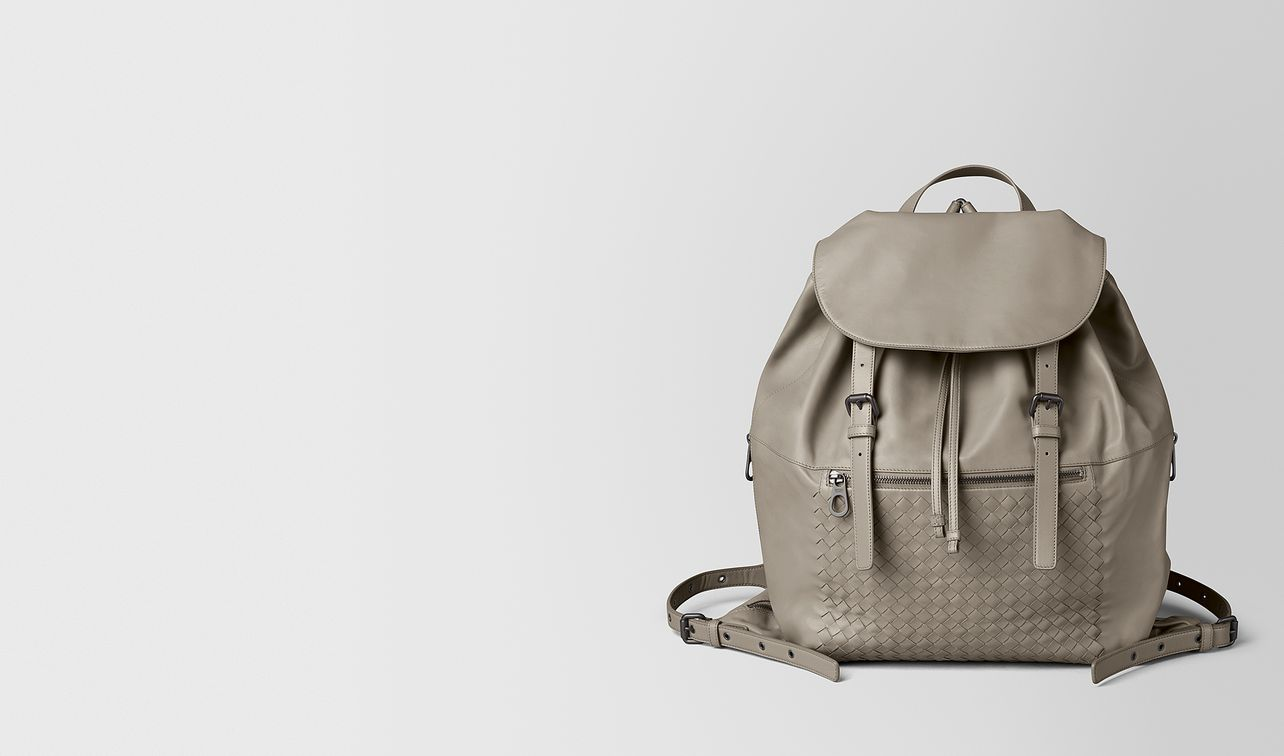 dark cement intrecciato calf backpack landing