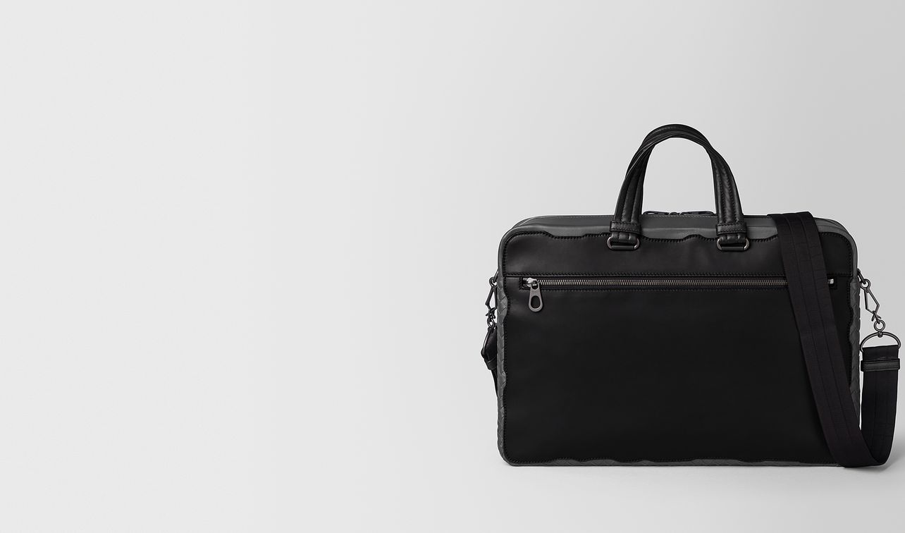 nero calf/ardoise intrecciato nappa briefcase landing