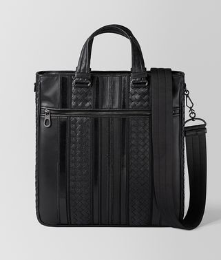 TECH STRIPE TOTE BAG AUS NAPPA IN NERO