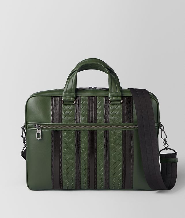BOTTEGA VENETA FOREST/NERO NAPPA TECH STRIPE BRIEFCASE Business bag Man fp
