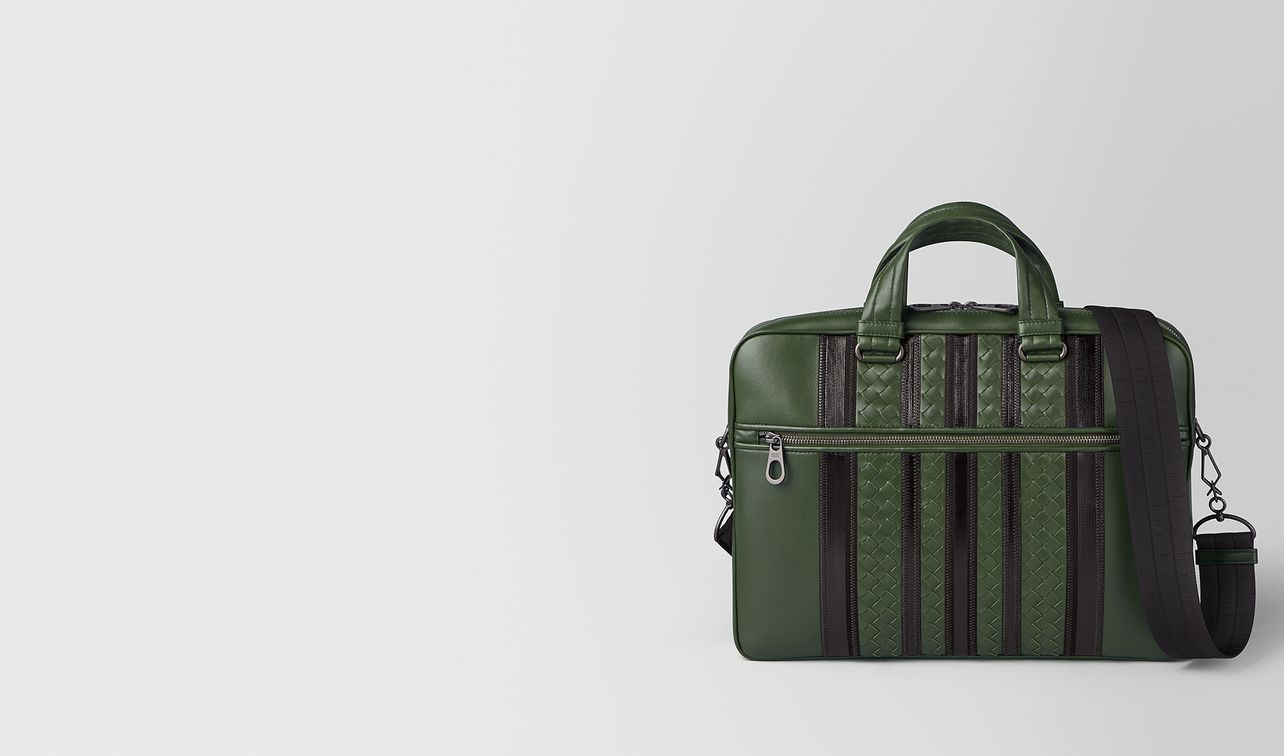 forest/nero nappa tech stripe briefcase landing