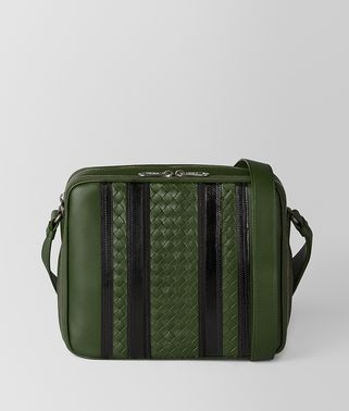 BORSA MESSENGER TECH STRIPE IN NAPPA FOREST/NERO