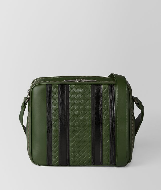 BOTTEGA VENETA FOREST/NERO NAPPA TECH STRIPE MESSENGER Messenger Bag [*** pickupInStoreShippingNotGuaranteed_info ***] fp