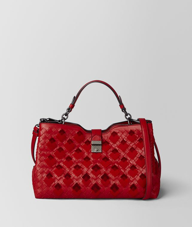 BOTTEGA VENETA CHINA RED INTRECCIATO VELVET NAPOLI BAG Top Handle Bag [*** pickupInStoreShipping_info ***] fp