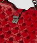 china red intrecciato velvet napoli bag Back Detail Portrait