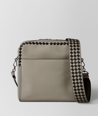 DARK CEMENT/NERO CALF INTRECCIATO CHECKER PILOT BAG