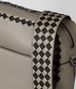 BOTTEGA VENETA DARK CEMENT/NERO CALF INTRECCIATO CHECKER PILOT BAG Messenger Bag Man ep