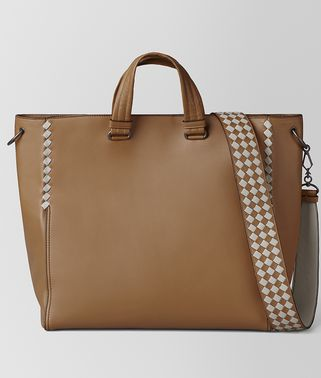CAMEL/CEMENT CALF INTRECCIATO CHECKER BV TOTE