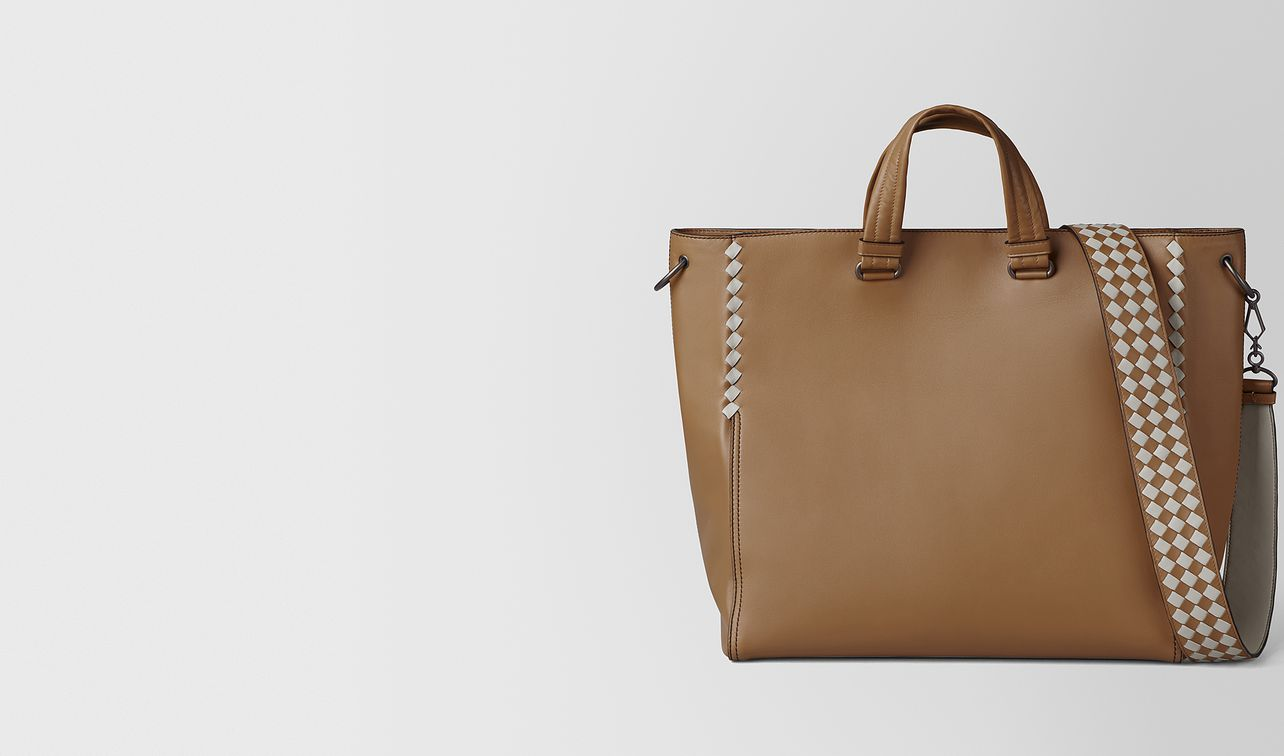 camel/cement calf intrecciato checker bv tote landing