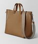 camel/cement calf intrecciato checker bv tote Right Side Portrait