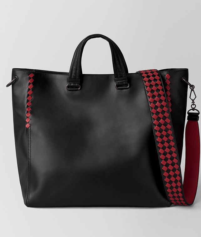 BOTTEGA VENETA NERO/CHINA RED CALF INTRECCIATO CHECKER BV TOTE Tote Bag [*** pickupInStoreShippingNotGuaranteed_info ***] fp