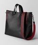 nero/china red calf intrecciato checker bv tote Right Side Portrait