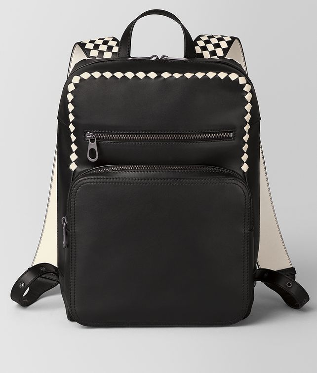 BOTTEGA VENETA NERO/MIST CALF INTRECCIATO CHECKER BACKPACK Backpack [*** pickupInStoreShippingNotGuaranteed_info ***] fp