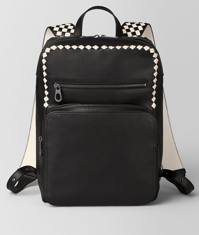 BOTTEGA VENETA NERO/MIST CALF INTRECCIATO CHECKER BACKPACK Backpack [*** pickupInStoreShippingNotGuaranteed_info ***] fp