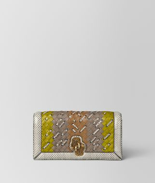 KNOT CLUTCH IN INTRECCIATO CLUB STITCH CHAMOMILE