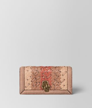 KNOT CLUTCH IN INTRECCIATO CLUB STITCH PEACH ROSE