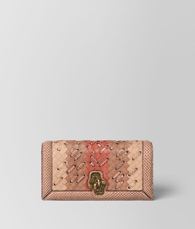 BOTTEGA VENETA PEACH ROSE INTRECCIATO CLUB STITCH KNOT CLUTCH Clutch [*** pickupInStoreShipping_info ***] fp