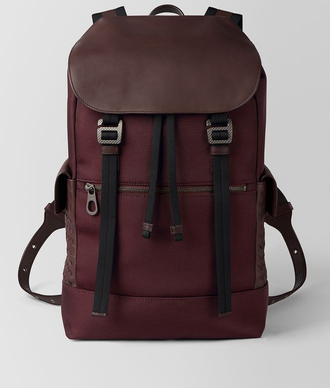 BOTTEGA VENETA DARK BAROLO HI-TECH CANVAS SASSOLUNGO BACKPACK Backpack Man fp
