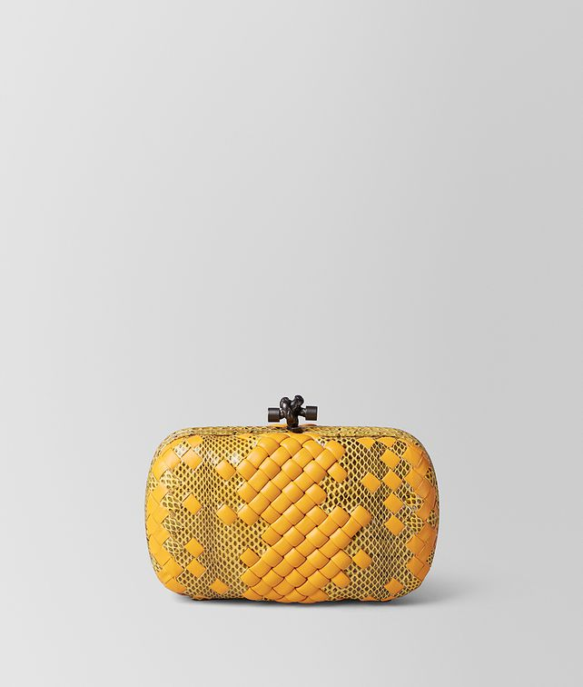 BOTTEGA VENETA SUNSET INTRECCIATO IMPERATRICE CHAIN KNOT Clutch Woman fp