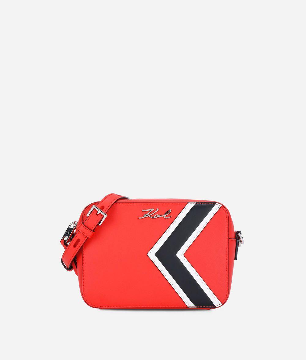 KARL LAGERFELD K/Stripes Leather Camera Bag Crossbody Bag Woman f