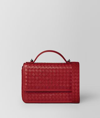 CHINA RED INTRECCIATO NAPPA ALUMNA BAG