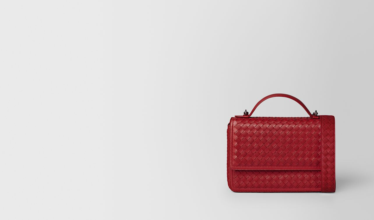 china red intrecciato nappa alumna bag landing
