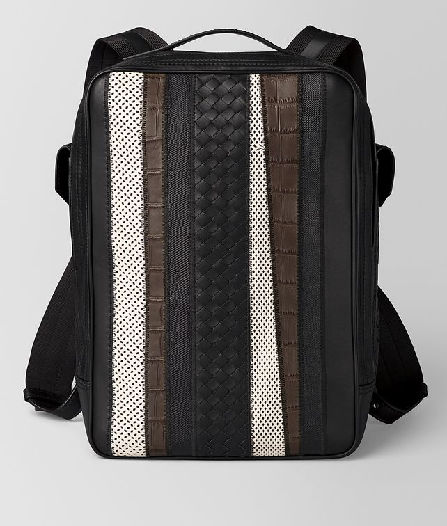BOTTEGA VENETA NERO NAPPA/PRECIOUS MIX STRADE BRICK BACKPACK Backpack [*** pickupInStoreShippingNotGuaranteed_info ***] fp