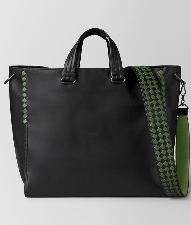 BOTTEGA VENETA NERO/FERN CALF INTRECCIATO CHECKER BV TOTE Tote Bag Man fp