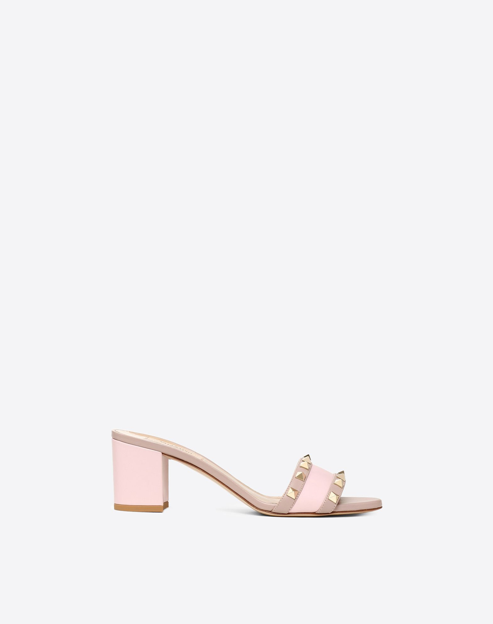 VALENTINO Studs Leather sole Round toeline Square heel  45409459ac