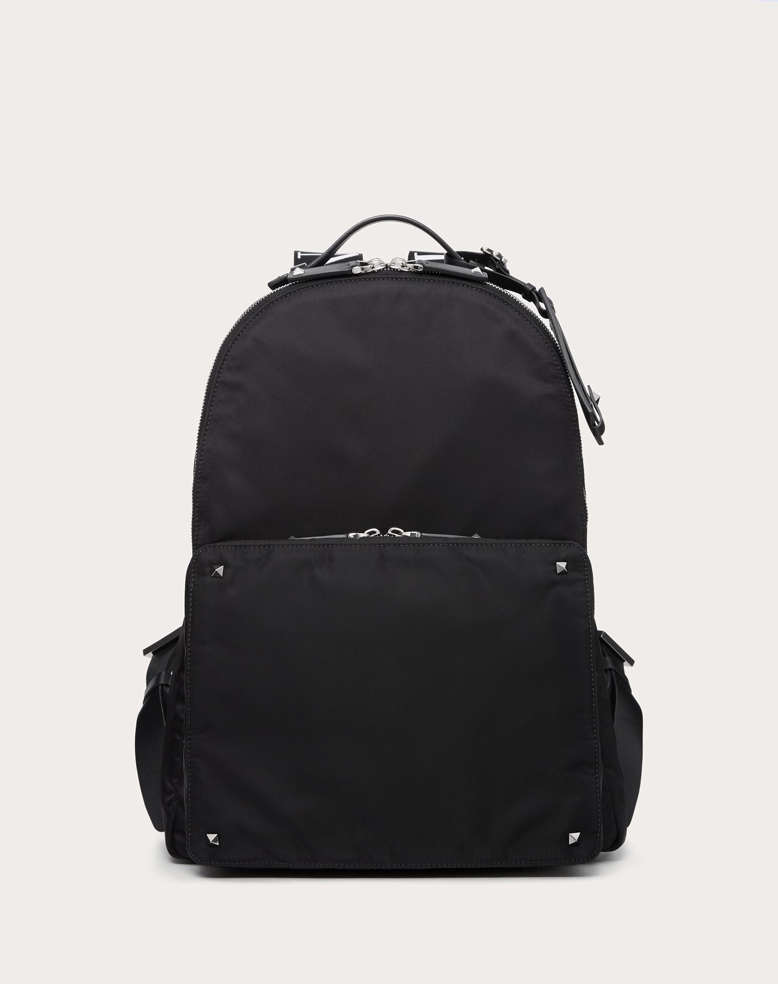 VALENTINO Techno fabric Studs Logo Solid colour Dual zip closure External pockets Internal pocket  45409581ew