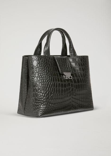 Croc print leather handbag with shoulder strap