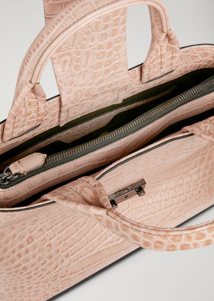 af9eab3edcc3 EMPORIO ARMANI Crocodile print leather handbag Document Holder Woman a