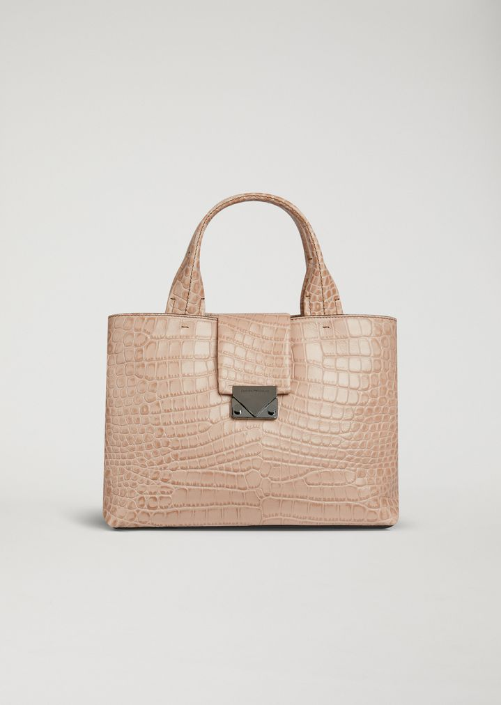 817fa2dd226e EMPORIO ARMANI Crocodile print leather handbag Document Holder Woman f