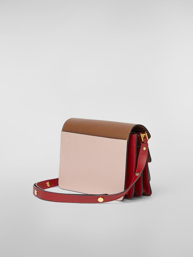 Marni TRUNK bag in smooth calf brown pink and red Woman