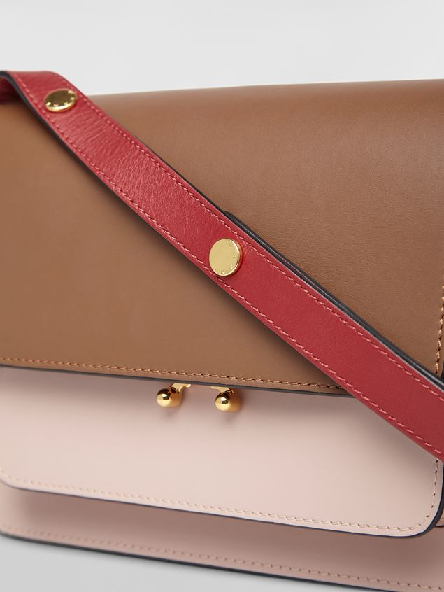 Marni TRUNK bag in smooth calf brown pink and red Woman - 2