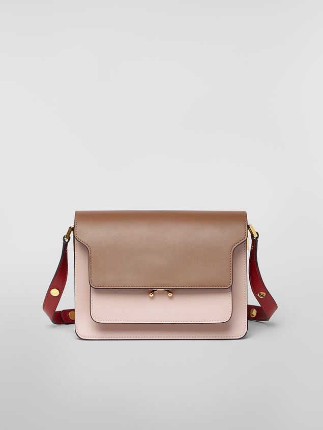 Marni TRUNK bag in smooth calf brown pink and red Woman - 1
